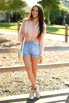 Insane Jungle Cheap Monday high waist denim shorts, Meredith Hahn rose bracelet and starfish necklace, Nasty Gal studded ankle boots, Pink blouse