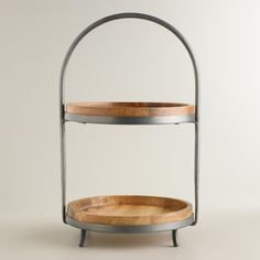 Our Wood and Metal 2-Tier Serving Stand presents food and decor with casual style. >> #WorldMarket #OutdoorLiving #WorldMarketLove4Outdoors