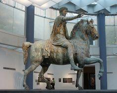 Original equestrian statue of Marcus Aurelius, now restored and located in the Capitoline Museum