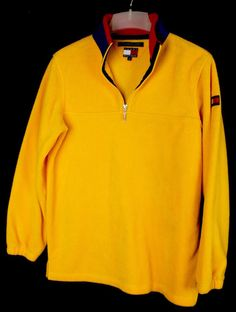 Vintage Nautica NUS Half Zip Fleece Jacket XL Yellow Blue Long ...