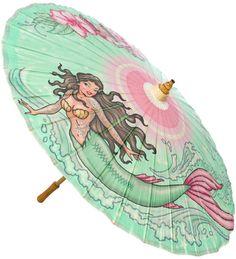 RETRO A GO GO TATTOO MERMAID PARASOL $20.00 #retroagogo #parasol #mermaid