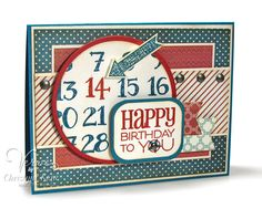 Birthday card by Christyne Kane using Calendar Countdown and Birthday To You from Verve.  #vervestamps