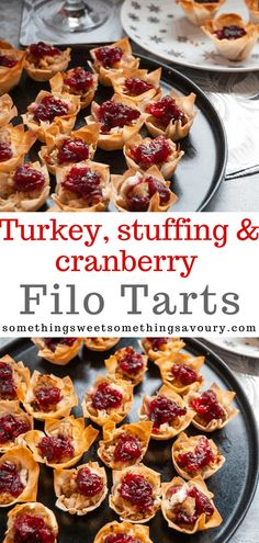 These Turkey and Cranberry Filo Tarts are full of Christmas flavour - chopped leftover turkey stuffing and cranberry sauce in one delicious crunchy bite. They are perfect Festive party food! Best Appetizer Recipes, Tart Recipes, Yummy Appetizers, Sweet Recipes, Snack Recipes, Snacks, Dinner Recipes, Savoury Pastry Recipe, Bite Size Food