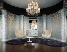 Eggchaits, silver damask wallpaper, crystal chandy
