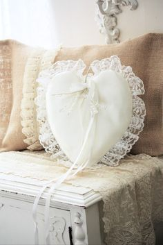 Dainty Heart Pillow  Lace Runner, Love~❥
