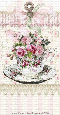 teacup tag, Geschenkanhänger mit Rosentasse