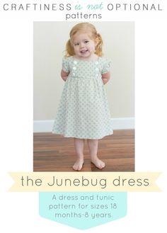 Junebug Dress and Tunic PDF pattern via Etsy Kids Patterns, Pdf Sewing Patterns, Clothing Patterns, Pattern Ideas, Clothing Ideas, Kids Clothing, Dress Patterns, Little Girl Fashion, Little Girl Dresses