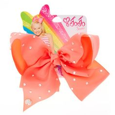 JoJo Siwa Large Rhinestone Coral Signature Hair Bow