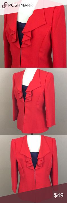 """Red ruffled power suit jacket Preston and York Red power suit blazer jacket. Interior is fully lined and front has modern ruffle on the chest. Color is an orange red that command the room. Measurements laying flat: Chest 20"""" across Total length 25"""" Preston & York Jackets & Coats Blazers"""