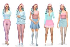 """sadnessimmer: """" Pastel Lookbook. Thank you to the cc creators ♡ Please tell me if the links dont work/are wrong, or if i tagged the wrong person! First look: • Top - @mysimlifefou • Bottoms - @leeleesims1 • Shoes - @madlensims Second look: • ..."""