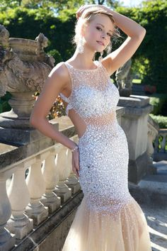 Sleeveless exposed and embellished Jovani dress