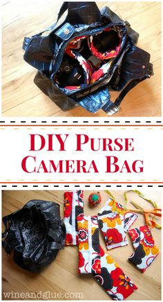 DIY Purse Camera Bag | www.wineandglue.com | A tutorial to make a fancy camera bag purse out of a second hand bag!