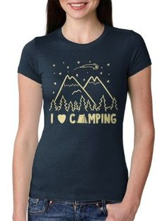 838c790e1 Womens I Love Camping Cool Summer Outdoor Hiking Graphic Tee for Ladies