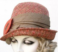 Women's Fedora Hat in Peach Tweed Textured Fabric by BuyGail