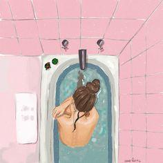 illustration uploaded by Ms. Aesthetic Girl, Aesthetic Anime, Art Sketches, Art Drawings, Bath Art, Bath Girls, Colorful Drawings, Art And Illustration, Art Inspo