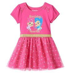 "Toddler Girl Shimmer and Shine ""Birthday Sparkle"" Glitter Tulle Dress, Pink , 2T"