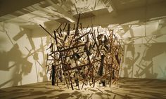 Cornelia Parker's Cold Dark Matter, An Exploded View.  Parker blew up a shed with the help of the British Army.  She collected the charred pieces and hung them from a grid to form a cube.  The single light bulb suspended in the centre cast shadows on the interior space.