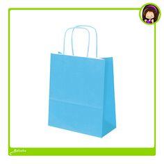 #Bolsas de papel de color azul. Asa rizada de color azul con certificación ecológica PEFC y FSC
