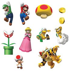 """Super Mario Bros. Removable Wall Decorations Includes 48 self-stick, reusable decals (up to 4¾""""H). They stick to almost any flat surface. 2008 ©Nintendo. Weight (lbs) 0.37 Length (inches) 10.5 Width ("""