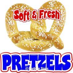 "Pretzels Soft Fresh Food Truck Concession Stand Restaurant Vinyl Sign Decal 24"" Concession Stands, Concession Trailer, Truck Signs, New Menu, Boneless Chicken Breast, Vinyl Signs, Nascar Racing, Pretzels, Food Truck"
