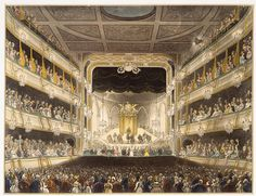 Covent Garden Theatre: 1808 by Thomas Rowlandson. Museum quality art prints with a selection of frame and size options, and canvases. Museum of London Old London, London City, George Frederick Handel, Theater, Arts Theatre, London Metropolitan, London Museums, Romance, Regency Era