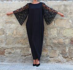 Black Lace Caftan dress Abaya dress by cherryblossomsdress on Etsy