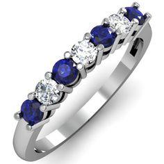 10K White Gold Round Blue Sapphire and White Diamond 7 Stone Bridal Wedding Band (Size 7)