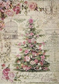 GBP - Rice Paper For Decoupage Decopatch Scrapbook Craft Sheet Sweet Christmas Tree & Garden Shabby Chic Christmas, Victorian Christmas, Vintage Christmas Cards, Pink Christmas, Christmas Pictures, Christmas Topper, Christmas Decoupage, Vintage Greeting Cards, Merry Christmas