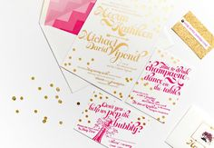 Pink and Gold Foil Wedding Invitations by Coral Pheasant via Oh So Beautiful Paper (9)