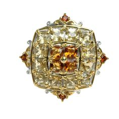 This exquisite Michael Valitutti ring features Brazilian Canary Citrine accented by Maderia Citrine.