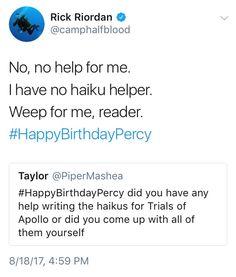 Oh uncle rick Rick Riordan Series, Rick Riordan Books, Percy Jackson Memes, Percy Jackson Fandom, Solangelo, Percabeth, Happy Birthday Percy, Pokemon, Looking For Alaska