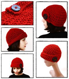 Free Pattern: Red Bulky Skullcap with Big Black Button | BirDeli's Handmade | Home and Blog of the BirDeli