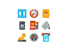 Gas Station Icons by July Pluto