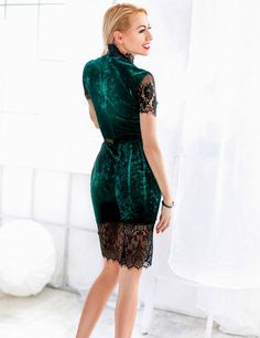 Lady's Stunning Velvet Elegance Guipure Bodycon Dress