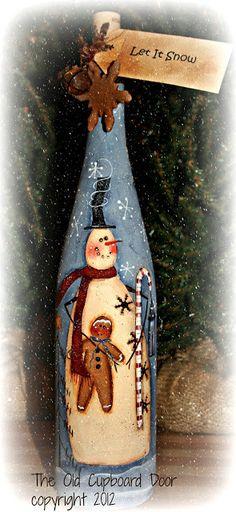 The Old Cupboard Door: Painted Wine Bottle