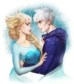 Jack Frost & Elsa art by Sakimi-Chan - this just makes me happy, it's cute. Jack Frost E Elsa, Jake Frost, Jack And Elsa, Jelsa, Disney Couples, Disney Love, Arte Disney, Disney Art, Disney And Dreamworks