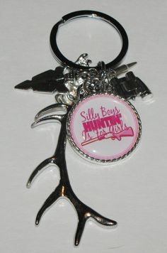Hunting Deer Antler Keychain With Charms And by DixonsJewelry, $8.99