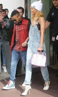 Rihanna in denim overalls
