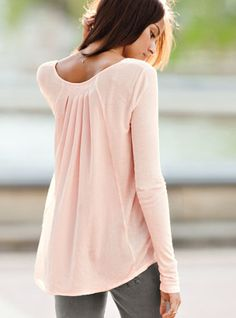 Pleated Satin-back Tunic in Pink.