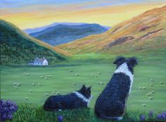 """Highland Watch"" - Two Border Collies watch the sheep from a hillside in Scotland, an original painting by North Carolina artist, Fran Brooks.  www.artistnannie.com"