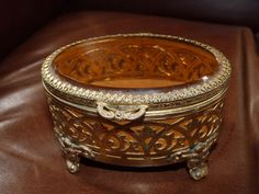 Vintage Trinket or Jewelry Ring Box Small Brass by metroretromart, $26.00