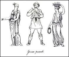 Greek men and women wearing simple tunics or Greek chitons.