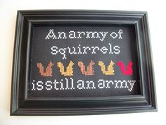 Funny squirrel quote from Magic the Gathering by FunWithNeedles, $40.00