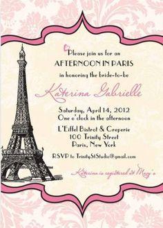 Vintage Parisian Bridal Shower Invitations