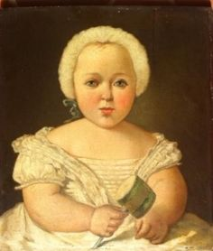 18th century painting of child with baby rattle. I love the wig! Courtesy osprey.fr, where it's for sale.