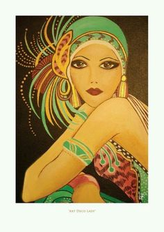 1920s art - lady in green Charleston outfit.