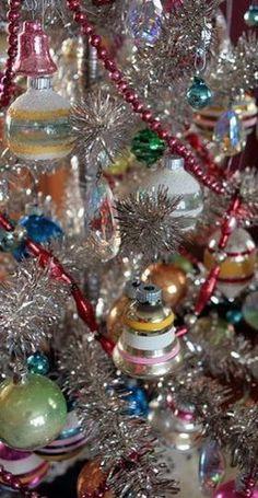 Retro silver Xmas tree with Vintage glass ornaments!