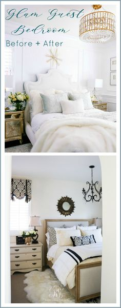 Glam Guest Bedroom Makeover with wainscoting, luxurious velvet and fur bedding. Elegant Home Decor, Elegant Homes, Mirrored Side Tables, Game Room Kids, Master Bedroom Design, Guest Bedrooms, Guest Room, Decorating On A Budget, Beautiful Bedrooms