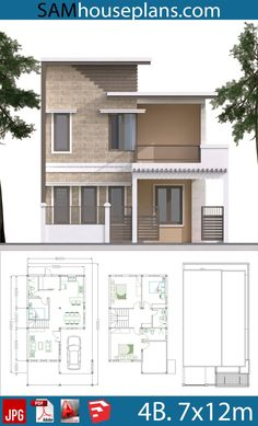 House Plans with 4 Bedrooms Plot - Sam House Plans Two Story House Design, 2 Storey House Design, Duplex House Design, Duplex House Plans, Simple House Design, House Front Design, Minimalist House Design, Dream House Plans, Modern House Design
