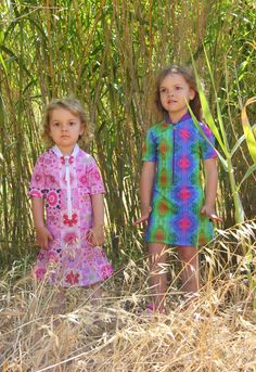 Jungle Girls! Gorgeous Eleftheria and Irini are wearing Solamigos UV Dress Pink Dream & Skin, ss15